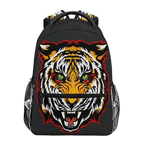 (Angry Tiger Head Maskottchen Rucksack Wasserdicht Schulrucksack Gym Rucksack Schwarz Tier Laptop Tasche Outdoor Reise Tasche für Kinder Jungen Mädchen Frauen Herren)