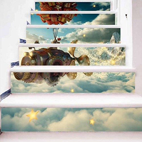 KKYLOVEJ Kreativ Kombination Treppe von 12 Schritten Abziehbilder 3D Realistisch Raumfahrzeug Jungenzimmer PVC Selbstklebend Wandgemälde Geschenkbox Form Ballon Wasserdicht Herausnehmbar DIY Poster , 1 Set 18 pcs , 100*18cm