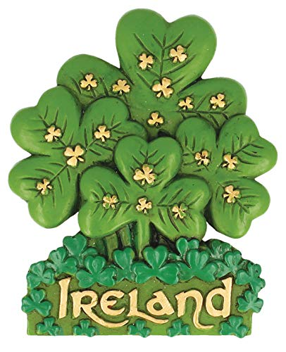 Antique Magnet Of Shamrock Sprig And Gold Ireland Text And Small Shamrock Design -