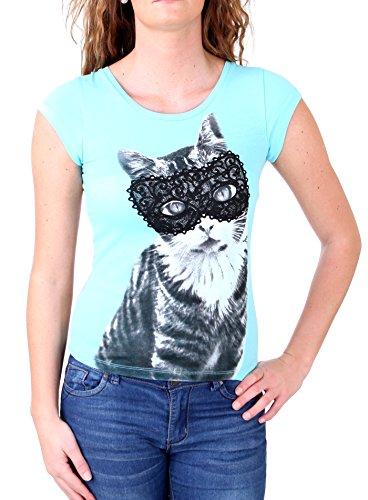 Madonna T-Shirt Damen FIEN Sweet Kitty Rückenteil aus Spitze MF-406989 Türkis M -