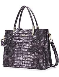 Kadell Ladies Top Handle Tote Bag For Women Crocodile Embossed Purses And Handbags Purple