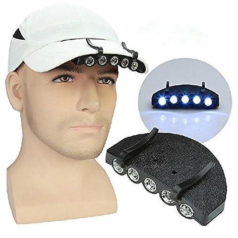 Ezyoutdoor Clip lampe de chapeau lampe frontale 5LED à clipser Tête lampe de poche pour foyer extérieur Camping Pêche randonnée Bivouac survie Marche