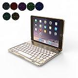 OBOR Aluminiumlegierung iPad Mini Keyboard Case - 7 Farben Hintergrundbeleuchtung Flip Wireless Bluetooth Tastatur Schutzhülle für iPad Mini 4 (Golden)