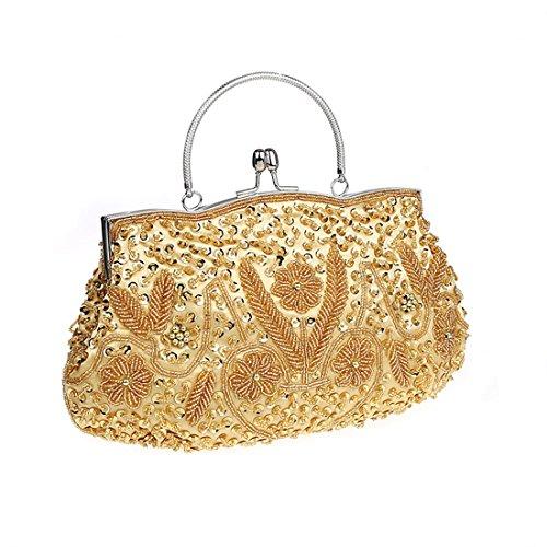 KAXIDY Abendtasche Clutch Beuteltasche Brauttasche Handtasche Party mit Pailetten Perlen Bestickt Gold