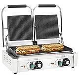 Festnigh Doppia Griglia Scanalata per Panini e Sandwich Professionale 3600W 58x41x19cm