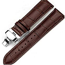 24 mm Stripes Brown Leather Watch Band Strap Stainless Steel deployment Clasp Buckle