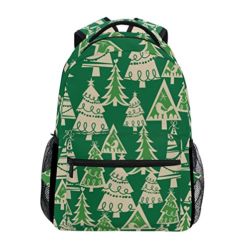 TIZORAX Weihnachten Bäume Urlaub Forest Rucksack Schulranzen Segeltuch Wandern Reise Rucksack (Bäume Für Weihnachten-mesh)