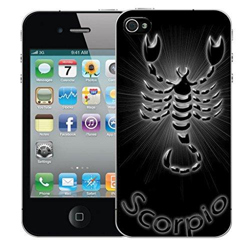 Nouveau iPhone 5s clip on Dur Coque couverture case cover Pare-chocs - noir virgo Motif avec Stylet black scorpio