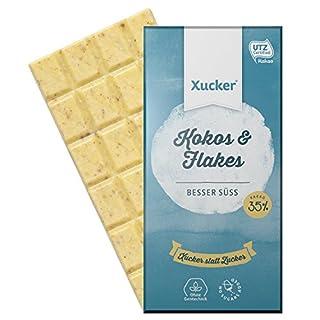 Xucker 5er Pack Schokolade ohne Zuckerzusatz mit Xylit, Kokos und Weizenflakes, 5 x 100g Tafel, Weißolade, 9910