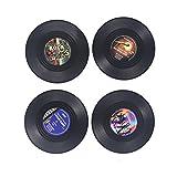 NUOLUX 4pcs Sous-verre Porte-gobelet Rond Vintage Vinyle