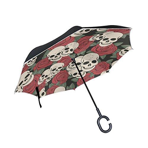 jstel doble capa puede calavera paraguas coches Reverse resistente al viento lluvia paraguas para coche al aire libre con asa en forma de C