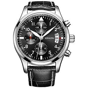SONGDU Mens Fashion Casual Quartz Wrist Watch with Colour Black Leather Strap