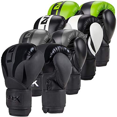 LNX Boxhandschuhe Nitro 8 10 12 14 16 Oz - Männer, Frauen, Kids Kickboxen Boxen Muay Thai MMA Kampfsport UVM schwarz/grau (004) 16 Oz