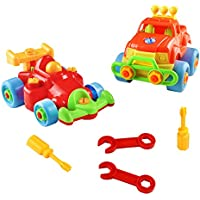 Assemble Disassemble Toys Construction Vehicle Toys Take Apart Toys Building Toy Sets Racing Car Toy Set for Kids Girls Boys 3 4 5 Year Olds and up (car)