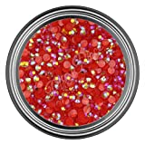 3MM - 500 Pieces : AB Red Resin Rhinestones in 2mm 3mm 4mm 5mm 6mm for Flat Back Nail Art Cabochon Diy Decoration and Craft (3MM - 500 Pieces)