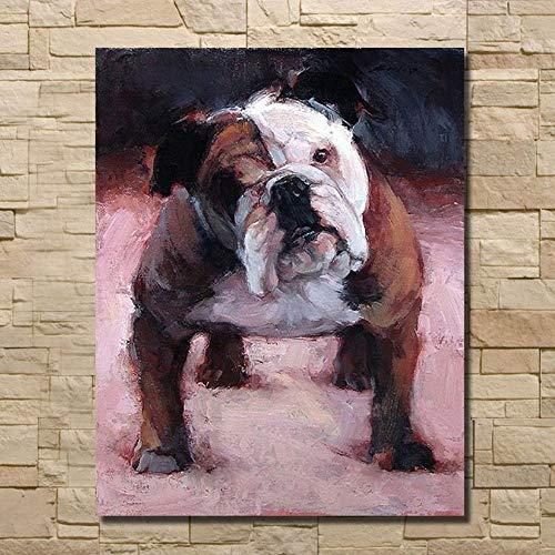100% Handgemalte Ölgemälde,Tierstil, Abstrakte Englische Bulldogge, Malerei Auf Leinwandkunst, Große Wohnkultur Wandkunst, Für Kinderzimmer Schlafzimmerdekorationanstrich Ohne Rahmen, 90 × 160 Cm