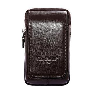 Bauchtasche aus Leder von Aovolo, multifunktionales Holster für iPhone 8 Plus, auch hochwertigem Echtleder mit Gürtelschlaufen, ultradünn, für Herren, Braun 1, L-V2