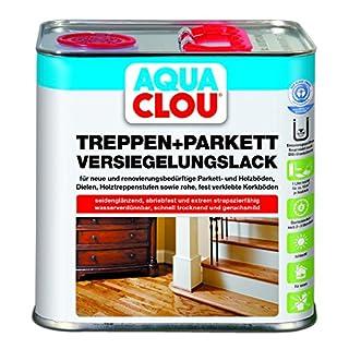 Aqua Clou Treppen- und Parkett Versiegelungslack 2,5L: Anwendung auf neuen Holzböden und im Rahmen der Renovierung – seidenglänzend, abriebfest, schnell trocknend für Dielen, Holz-Treppenstufen sowie Korkböden