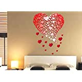 Happy Walls Symbol Of Love With Many Red Hearts Wall Sticker