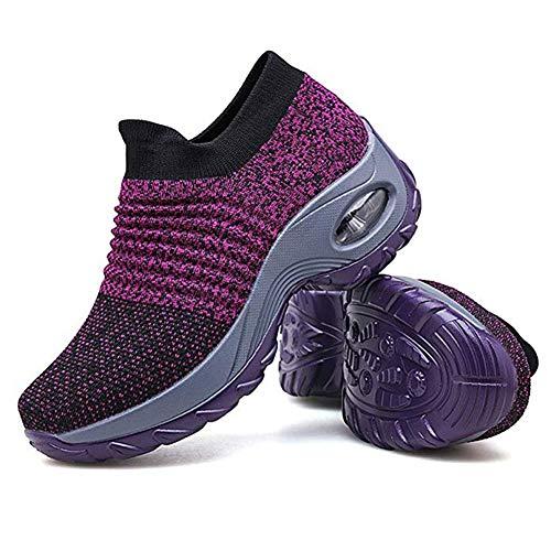 Scarpe da Trekking da Donna, in Rete, Traspiranti, Scarpe da Ginnastica da Strada e Corsa, Viola (Purple), 36 2/3 EU