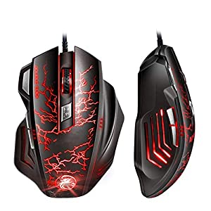 GAYBJ RGB Optical FPS-Gaming-Maus 12.000 DPI Optischer Sensor, Ergonomisches Spiel USB-Computermäuse RGB-Gamer-Desktop-Laptop-PC-Gaming-Maus, 7 Tasten für Windows 7/8/10 / XP Vista Linux