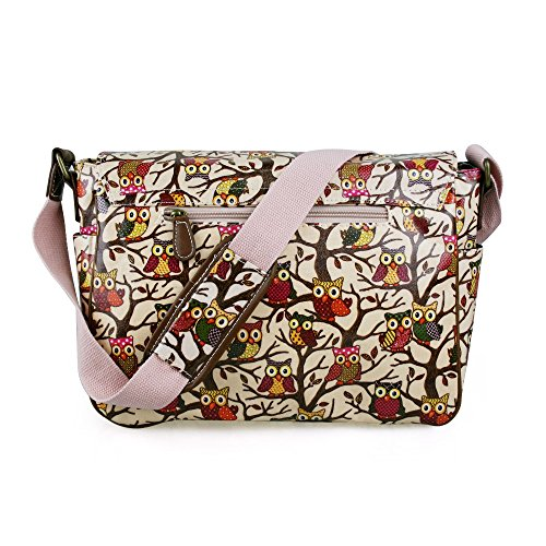 Miss Lulu , Damen Schultertasche Medium Owl Pale Pink
