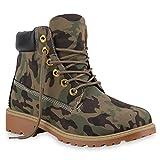 Stiefelparadies Unisex Damen Herren Boots Bequeme Worker Boots Profilsohle Outdoor Schuhe 128478 Camouflage 39 Flandell