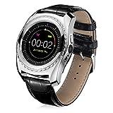 samLIKE 丨 TQ912 Smart Watch 丨 Herzfrequenz-Blutdruck-Schlafmonitor 丨 Schrittzähler 丨 Remote-Kamera 丨 SIM-Kartensteckplatz 丨 Mehrsprachig 丨 IP67 Wasserdicht 丨 Bluetooth Lederarmband 丨【 Die coolste Smartwatch dieses Jahr ❀】 (⭐️ Silber)