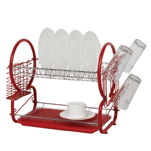 St@llion 2 Tier Dish Drainer Red Rack with Glass Utensil Cutlery Caddy & Drip Tray Utensil Rack