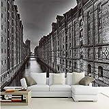Guyuell Benutzerdefinierte 3D Wallpaper Personalisierte Wasser Straße Gebäude Hintergrund Wand Tapete Balkon Wohnzimmer Dekoration Wandbild-120Cmx100Cm