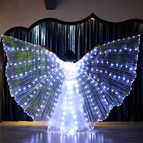 Blendend Kostüm Weißen - QHWJ LED-Lichtflügel, Tanz-weiblicher Berufsbauchtanz-Kostüm-Winkelflügel-Teleskopstock, Halloween-Karneval-Tanzparty,Weiß