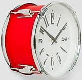 Kare Wanduhr Drum rot Ø 28 cm Trommel