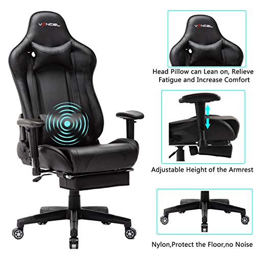 EVANCEL Gaming Stuhl in E-Sports Racing Style Massage Teillenkissen Computerstuhl Ergonomisches Design schwenkbarer mit Verstellbaren Armlehnen und Fußstütze, Wippfunktion mit PU Leder (Schwarz)