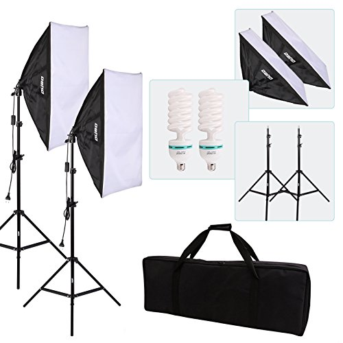 OUBO 2x 50 x 70cm Softbox Set Studioleuchte Fotostudio Beleuchtung 2x 135W E27 Fotolampen 5500K Tageslicht 2x Lampenstativ