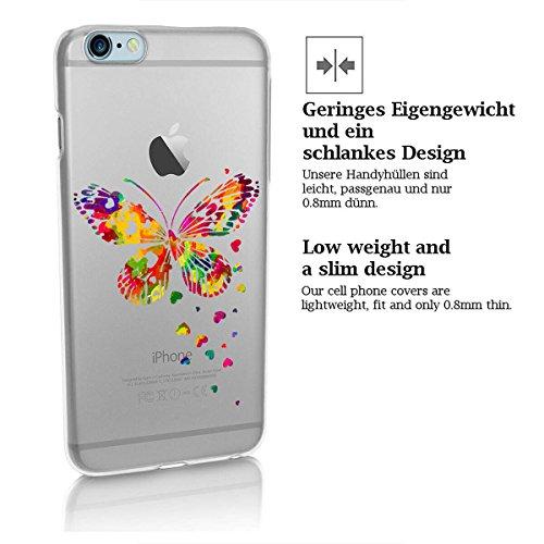 finoo | iPhone 8 Plus Handy-Tasche Schutzhülle | ultra leichte transparente Handyhülle in harter Ausführung | kratzfeste stylische Hard Schale mit Motiv Cover Case |Elefant line art Schmetterling bunt