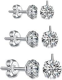 Fashmond 3 Paare Ohrstecker Polygon Ohrschmuck mit Kristall aus 925 Sterling Silber Weihnachtsgeschenke für Mädchen Damen Kinder Frauen Allergiefrei