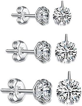 Fashmond 3 Paare Ohrstecker Polygon Ohrschmuck mit Kristall aus 925 Sterling Silber Weihnachtsgeschenke für Mädchen...