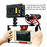 Ulanzi U-Rig Smartphone Video Rig, Filmmaking Recording Vlogging Rig Case, Handheld Grip Stabilizer with Cold Shoe Mount for iPhone 7 Plus Sumsang and Others within 7-inch Screen, LED Light, Microphone
