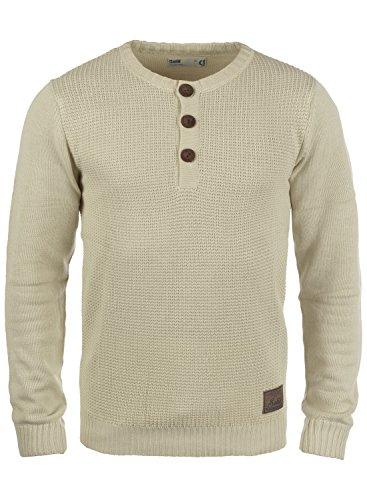 !Solid Terrance Herren Strickpullover Feinstrick Pullover Mit Rundhals und Knopfleiste, Größe:S, Farbe:Oyster Grey (8215) -