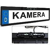 XOMAX XM-014 Farb-Rückfahrkamera mit Nummernschild / Kennzeichen Halterung und Nachtsicht Funktion / Infrarot LED + 120° Grad Blickwinkel + Auflösung: 648 X 488 Pixel + Farb CMD Sensor + Lichtempfindlichkeit nur 0,5 LUX + Videoanschluss: 1 x Cinch + Stromversorgung: 12V + Staubdichte/Wasserdichte: IP67