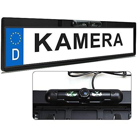 XOMAX XM-014 Mini telecamera retromarcia con staffa porta targa + Giorno e notte visíone notturna IR LED infrarosso 0,5LUX + PAL + Sensore colore CMD + Resistente all'acqua impermeable + Facile da installare + 170° angolo de visione - Golf Uscita Acqua