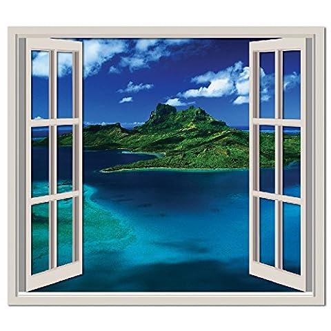 Île tropicale 3D Fenêtre Autocollant mural Paysage marin Sticker Salle de bain Home Décor Disponible en 8 tailles X-Grand Numérique