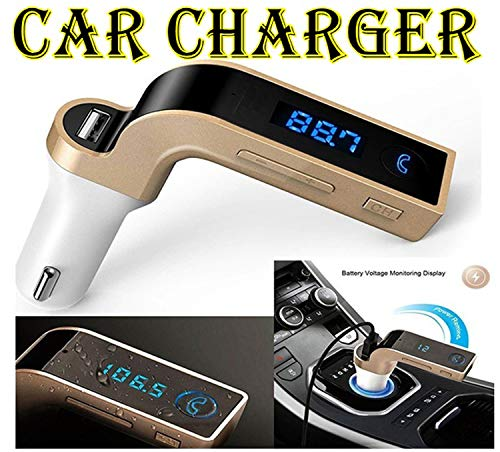 Global Craft Bluetooth Car Charger 2.5A with Turbo Charging/LED Screen/FM Transmitter/Supports Memory Card/Noise Cancellation/Call Accept & Disconnect Feature Model 116301