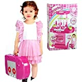 KISMIS Kitchen Toy Set Luxury Battery Operated Kitchen Play Set Pretend Play Set For Kids With Roll Play Kitchen Set Carry Case, With LED Lights & Sound, Multi Color