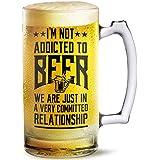 Beer Mug Not Addicted To Beer Printed Beer Mug 500 Ml Best Gift For Husband,Friend,Birthday,Anniversary