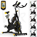 RevXtreme Indoor Aerobic Exercise Bike / Cycle Fitness Cardio Workout Machine - 22KG Flywheel (Yellow)