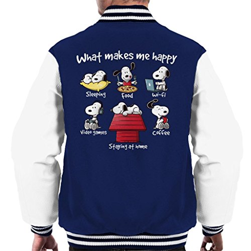 Cloud City 7 Snoopy Staying at Home Makes Me Happy Men's Varsity Jacket - Snoopy Junk-food