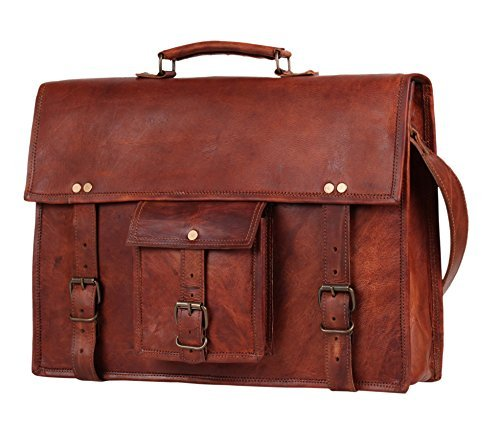 15 Inch Leather Laptop Messenger Bag – Office Briefcase College Bag By Rustic Town