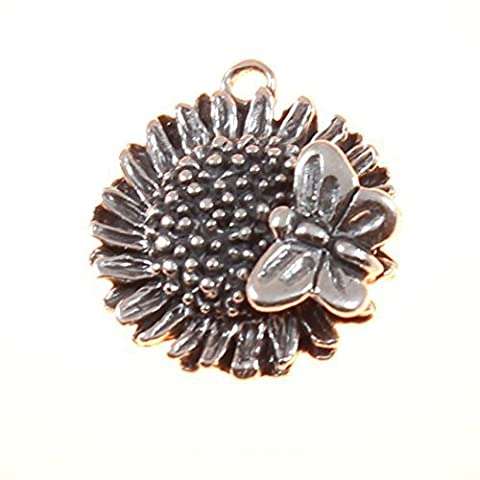 Sterling Silver 3D Sunflower With Butterfly Charm