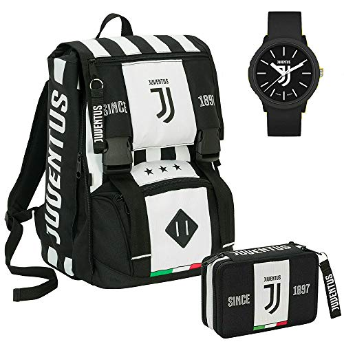 Schoolpack Zaino Scuola Juventus Estensibile + Astuccio 3 Zip Completo+ Orologio Omaggio